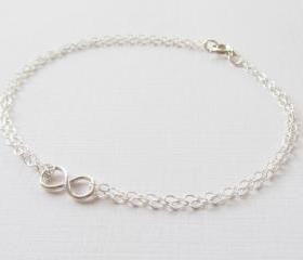 Mini Infinity Bracelet, Sterling Silver Bracelet, Gift for Her
