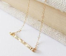 Hmmaered Bar Necklace, 14kt Gold Filled Necklace Gift for Her
